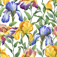Panel Szklany Podświetlane Do restauracji watercolor seamless pattern with purple, yellow and blue iris flower and green leaves