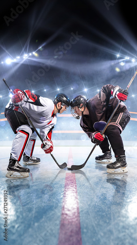 Hockey players starts game around ice arena Canvas Print