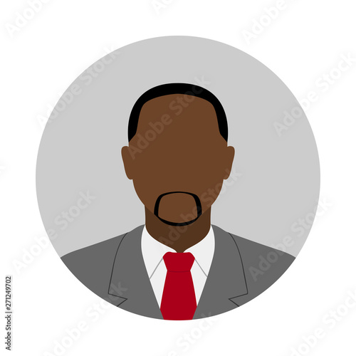 African American man in suit and tie. Abstract male avatar