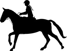 Young Woman Riding Horse Silhouette. Equestrian Sport. Equestrian Dressage