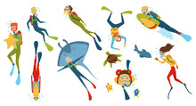 Set Of Cartoon Characters. Underwater Divers Man And Woman With Snorkel And Mask, Vector Illustration.