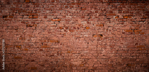 Panoramic Old messy Red Brick Wall Background - 271251788
