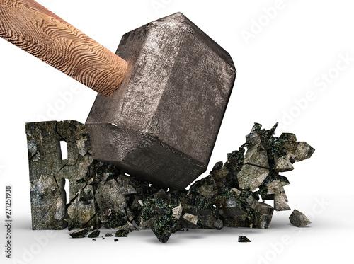 Fototapeta  Sledgehammer smashing RULE concrete word cracked, isolated on white background, 3D illustration