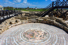 Preserved Mosaics At The Kato Paphos Archaeological Park In Cyprus
