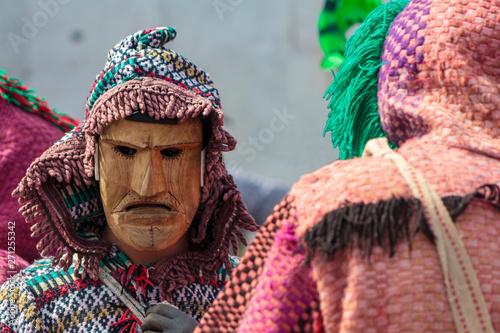 Vászonkép Masked men at Iberian Mask Festival Parade in Lisbon