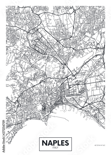 City map Naples, travel vector poster design Fototapete