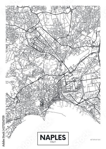 City map Naples, travel vector poster design Wallpaper Mural