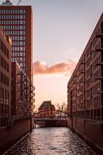 Sunset Over Houses In Hamburg
