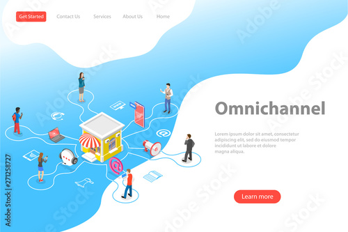 Pinturas sobre lienzo  Isometric flat vector landing page template of cross channel, omnichannel, several communication channels between seller and customer, digital marketing, online shopping