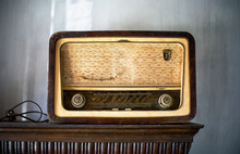 Very Old East European Yellow Brown Wooden Am FM Radio On The Shelf