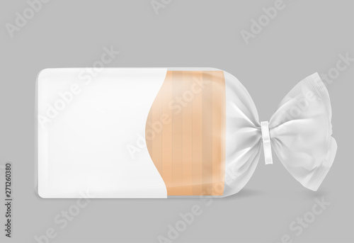 Fotografie, Obraz  Toast bread packaged with clip on grey background