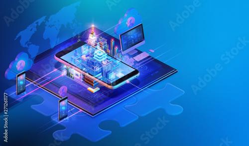 Isometric internet website interface background design Fototapet