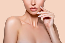 Beauty. Closeup Model Lips Beige In Studio. - Image