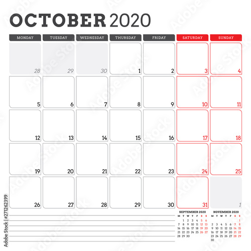 October 2020 Printable Calendar.Calendar Planner For October 2020 Week Starts On Monday Printable