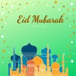 Leinwanddruck Bild - Eid Mubarak greeting Card Illustration, ramadan kareem cartoon vector Wishing for Islamic festival for banner, poster, background, flyer,illustration, brochure and sale background