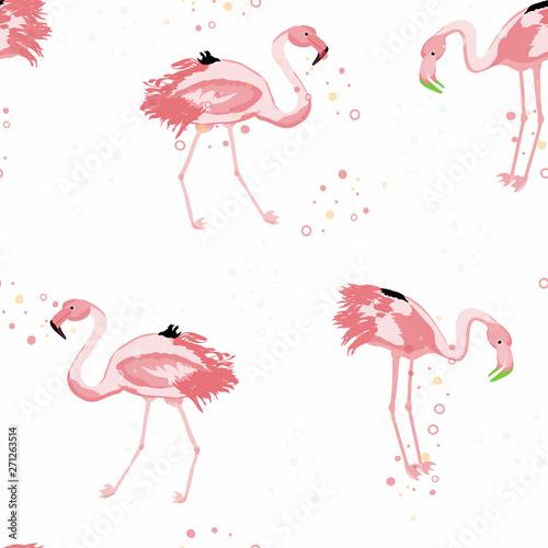 Canvas Prints Flamingo Bird Pink flamingo tropical seamless pattern