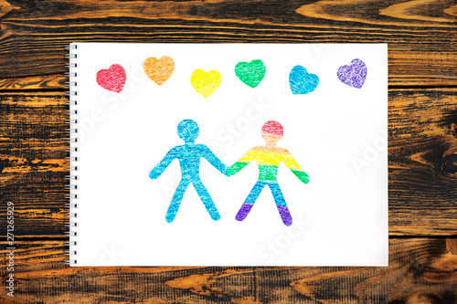 Tableau sur Toile The concept of friendship. Paper doll people cut from paper.