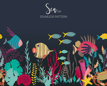 Vector Seamless Pattern With Underwater Ocean Coral Reef Plants, Corals And Exotic Fish