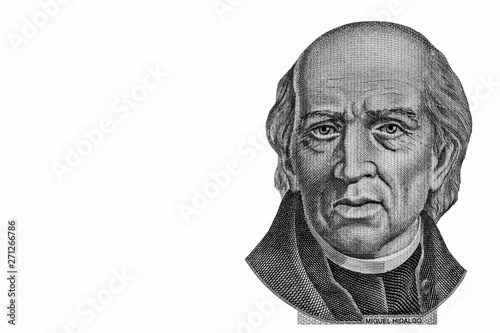 Miguel Hidalgo portrait from Mexican money 1000 pesos banknote, the face of the independence leader Miguel Hidalgo Wallpaper Mural