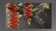 Tropical Black Gold Leaves On ...