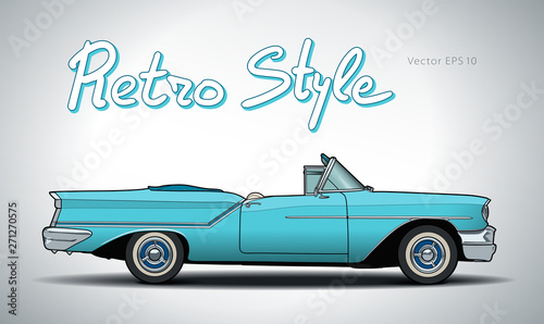 Recess Fitting Cars Retro car cabriolet vector draw isolated illustration