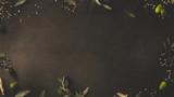 olives, leaves, herbes - Italian food
