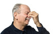 canvas print picture - Elderly man suffers from headache