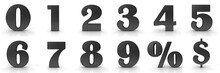 Numbers 3d Black 1 2 3 4 5 6 7 8 9 0 Numerals Percent Percentage Icon Dollar Sign Isolated On White