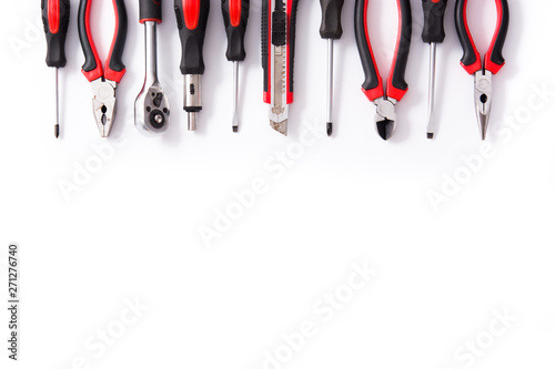 Fotomural Building tools repair set pattern isolated on white background