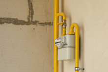 Residential Natural Gas Meter On Indoor Wall To Measure Household Energy Consumption