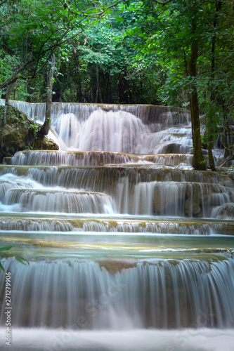 Beautiful waterfall at Huay Mae Kamin Kanjanaburi Thailand.