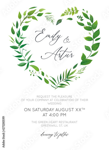 Fototapeta Wedding Invitation Floral Invite Card Modern Design Green Tropical Palm Leaf Greenery Eucalyptus Forest Leaves Branches Decorative