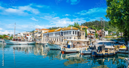 Montage in der Fensternische Südeuropa Old harbour on Limenas, capital and main port of Thassos island, Greece