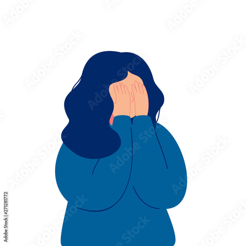 Fotografia Depressed young girl crying covering her face with her hands