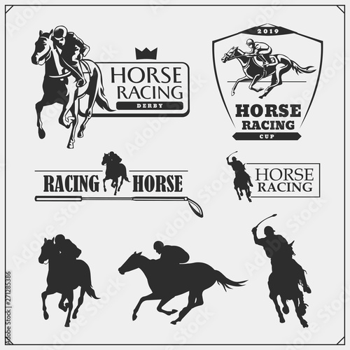 Cuadros en Lienzo Horse racing and polo club emblems, labels, badges and design elements