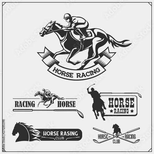 Canvas Print Horse racing and polo club emblems, labels, badges and design elements