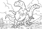 Fototapeta Dino - Cartoon Coloring Book - Dinosaurs Characters