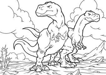 Cartoon Coloring Book - Dinosaurs Characters