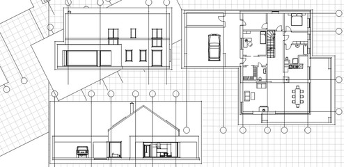 house, architectural sketch, 3d illustration