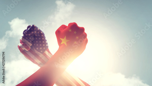 Concept of trade war between China and USA Canvas Print