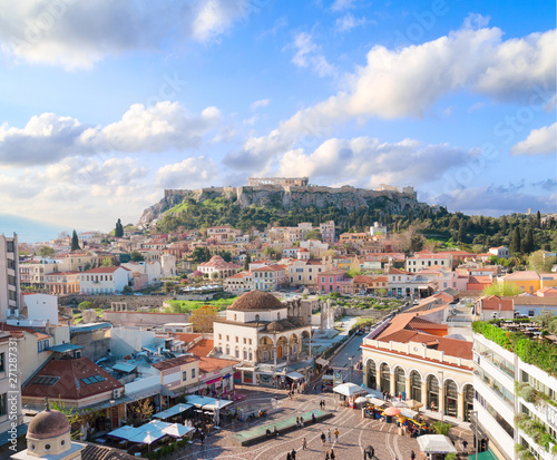 Staande foto Athene Skyline of Athenth with Acropolis hill