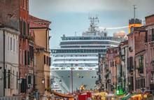 Italy Beauty, Like A Movie Scene, Gigantic Cruise Ship Leaving Venice , Venezia