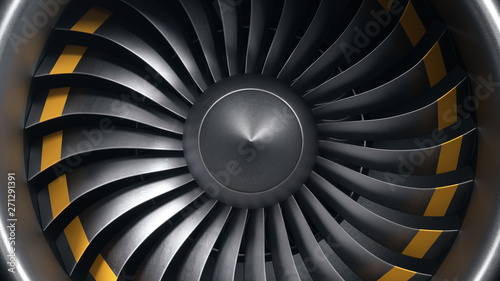 3D illustration jet engine, close-up view jet engine blades. Front view of a jet engine blades. Rotating blades of the turbojet. Part of the airplane. Blades at the ends painted orange