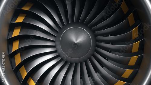 Photo 3D illustration jet engine, close-up view jet engine blades
