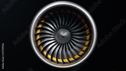 3D illustration jet engine, close-up view jet engine blades Canvas Print