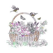 Basket Roses Lavender Flower V...