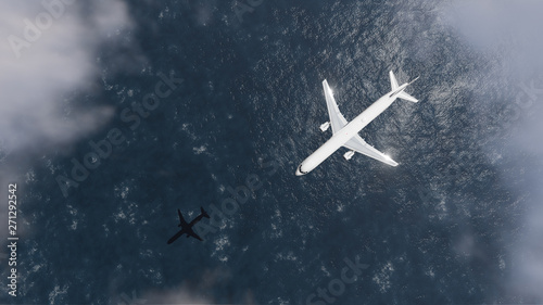 Ingelijste posters Vliegtuig Airplane With Sea Reflection 3d Rendering Illustration