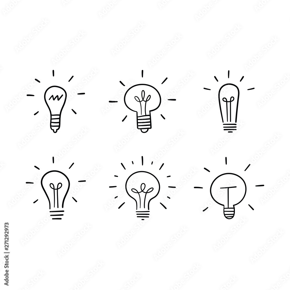 Fototapety, obrazy: Light bulb doodles set. Hand drawn idea icons. Creativity and innovation concept.