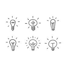 Light Bulb Doodles Set. Hand D...