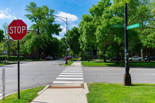 Fotografia Street Intersection on Logan Boulevard and Francisco Avenue in Logan Square Chic